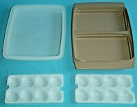 Vintage Tupperware Deviled Egg Keeper Carrier Container Tan #723-2 4Pc USA VGC