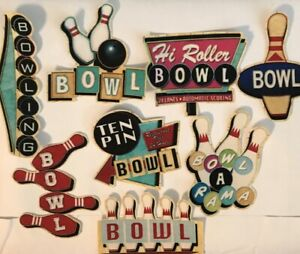 New! RETRO Bowling Patches  - Iron On Fabric Appliques