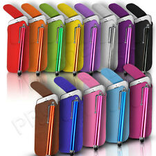 BUTTON LEATHER PULL TAB CASE COVER POUCH & PEN FOR VARIOUS SONY ERICSSON MOBILES