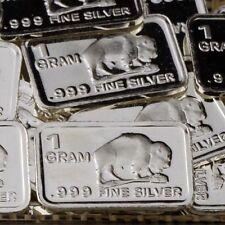 """""""Buffalo"""" Design. Lot of 10, 1 gram .999 Fine silver bullion bar. """"NEW"""""""