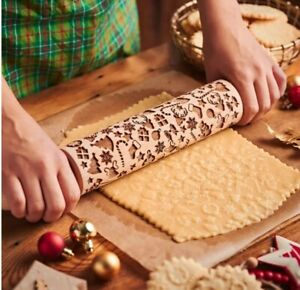 Embossing Rolling Pin Engraved Wooden Rolling Pin Dough Roller Cookies