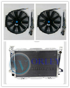 QLD Aluminum radiator for FORD F100 F150 F250 F350 Bronco V8 AT 1987-1997 + Fans