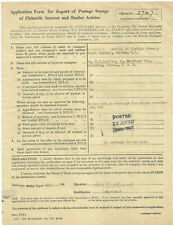 Application Form For Export Of Postage Stamps 1947 + Original Invoice Errington