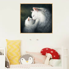 1set diy 5d diamond painting white cat picture embroidery home wall decoration &