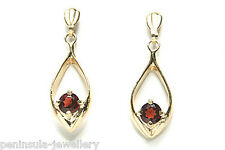 9ct Gold Garnet Dangly Drop Earrings Made in UK Gift Boxed