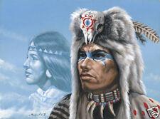 Matted Native American Night Spirit Foil Art Print~8x10 Ethnic