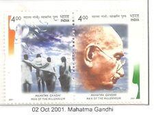 INDIA 2001 SE-TENANT PAIR OF MAHATMA GANDHI PST-49 MNH WHITE GUM