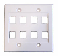 White Dual Gang 8 Port Keystone Wall Plate For Data Home Theater Audio Video
