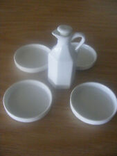 WHITE CERAMIC BREAD DIPPING DISHES (4) & OIL DECANTER WITH STOPPER SET