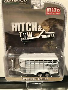 1/64 GREENLIGHT HITCH & TOW LIVESTOCK TRAILER WHITE MIJO EXCLUSIVES