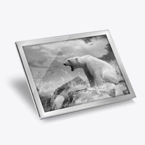 Glass Placemat 20x25 cm - BW - Angry Polar Bear Print Scary Animals  #40958