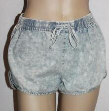 into Designer Faded Blue Denim Runner Shorts Size 10 BNWT #sy18