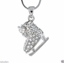 W Swarovski Crystal Charm ICE SKATING Figure Hockey Pendant Necklace Gift