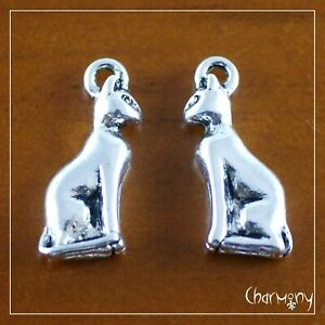 Small Bast Cat charms ~PACK of 2~ antique Tibetan silver Egypt Egyptian pendant