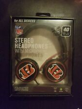 NFL CINCINNATI BENGALS Mizco 4D Steel Cut Logo STEREO HEADPHONES FREE SHIPPING
