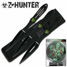 "THROWING KNIFE SET | Z-Hunter Black 3 Pc. 9"" Double Edge Zombie Biohazard Target"