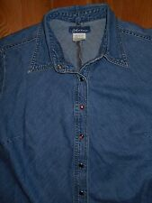 Western Denim Blouse LARGE 14 Top Shirt Express Bleus Blue Pearl Snaps 6w22