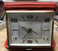 Vintage ELGIN Wind Up Travel Alarm Clock West Germany