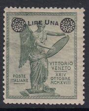 ITALIA:1924 VITTORIA maggiorazione 1L su 5c VERDE SG 161 MINT
