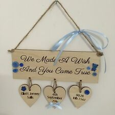 New Baby boy gift personalised name wooden heart plaque sign shabby chic gift
