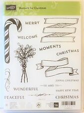 Stampin Up BANNERS FOR CHRISTMAS photopolymer stamps NEW peaceful mistletoe