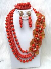 Coral Naranja Nuevo 2 Diseños Fiesta Nupcial Boda Cóctel granos nigeriana africano