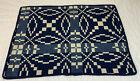 Hand Woven Coverlet Table Topper, Geometric Design, Navy, Medium Blue, Beige
