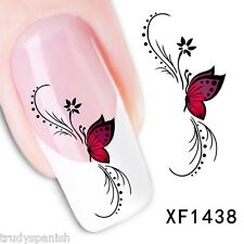 Nail Art Water Decals Transfers Pink Butterfly Flowers UV Tips Decoration (1438)