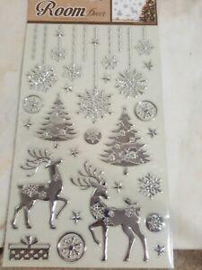 Silver Reindeer  Self Adhesive Wall Decor CHRISTMAS DECORATIONS Reusable