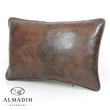 ALMADIH XL Lederkissen 50x35 cm Leder Kissen Dekokissen Sofakissen Braun Vintage