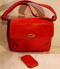 Vintage Red Faux Leather Shoulder Bag Purse with Key Holder