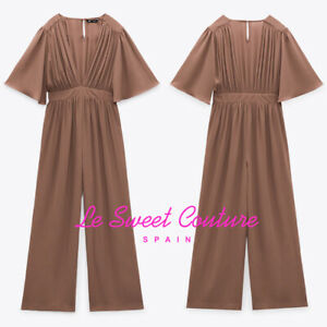 ZARA WOMAN NWT SS21 BEIGE-PINK LONG V-NECK JUMPSUIT ALL SIZES 7969/234