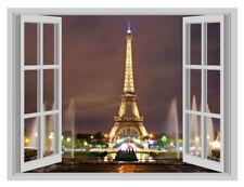 Enorme París Torre Eiffel Noche póster de Vinilo de Pared Pegatina De Ventana Calcomanía Mural 3D