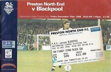 Football Programme plus Ticket>PRESTON NORTH END v BLACKPOOL Dec 1996