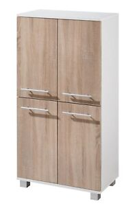 Midischrank mit 4 Türen weiß/Eiche-sägerau Badschrank Manhattan B-Ware