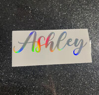 """Holographic Personalized Name 4"""" Decal Sticker, Vinyl, Rainbow, Cup, Laptop Gift"""