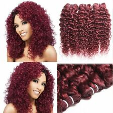 """3 Bundles 99j# Afro Curly 7a 100 Brazilian Human Hair Extensions Weave Weft 8"""""""