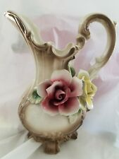 """Footed CAPODIMONTE Rose PITCHER VASE, 9 1/2"""" TALL MARKED """"N"""" With CROWN, Italy"""