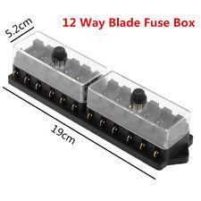 Universal Car Truck Boat 12 Way 12V Standard Blade Block Fuse Box Holder Circuit