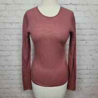 Vince Wool Ribbed Knit Crew Neck Sweater In Dusty Rose Size M NWT