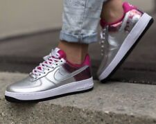 Nike AF1 Air Force One 07 PRM Silver Pink White Leather Trainers Men Women UK 4