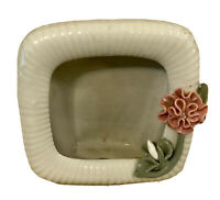 Vintage Porcelain Small Picture Frame - With Applied Pink Flowers - very pretty