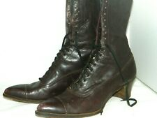 """Antique Ladies 10"""" Tall Lace Up Reddish Brown Leather Boots No Maker 270 10329 H"""