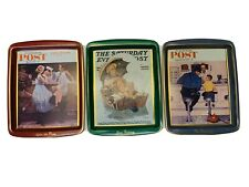 Set Of (3) Vintage Norman Rockwell Saturday Evening Post Tin Tray Daher England
