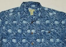 Hawaiian Shirt Japanese Koi Carp Fish Blue Mens Large L - Button-Front SS