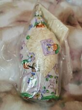 2004 Patricia Breen #2436 Sowing Time Lavender Pansies Blown Christmas Ornament