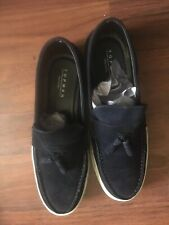 Top Man Navy Blue Suede Slip On Boat Shoes W/ Rubber Sole
