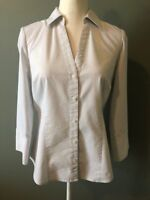 Ann Taylor Womens Blouse Button Down V Neck Career Top White Gray Dots Size 6