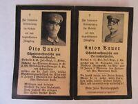 THE RAREST WWI German Death Card, 3 BROTHERS KIA DURING WAR, BAUER, Verdun, 1914