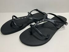 Havaianas Women's Sz 11-12w Black Sandals Ankle Strap Made In Brazil